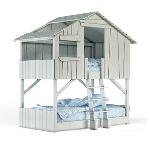 kids treehouse bunk bed 3D model