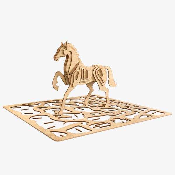 horse laser cut animation 3D model