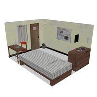 small student bedroom 3D model