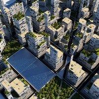 futuristic city cityscape model