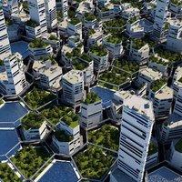 3D futuristic city cityscape model