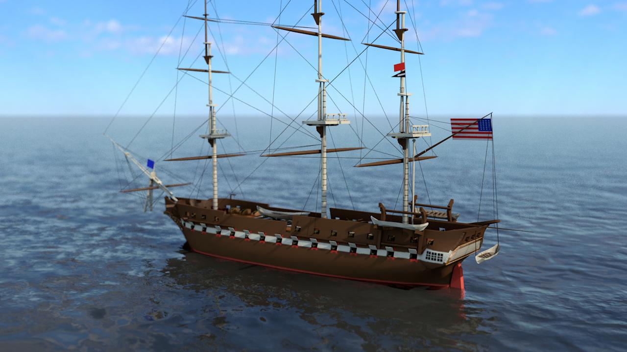 3D uss constitution frigate battleship