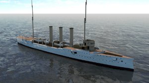 3D sms emden battleship