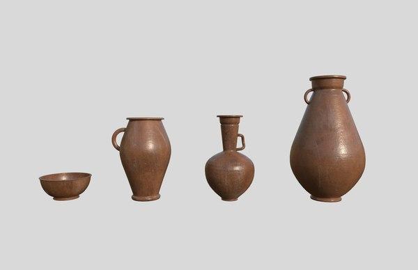 3D model clay pots