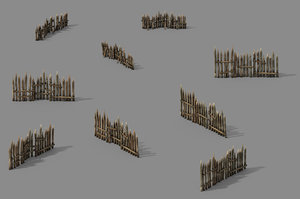 pointed wood - fence 3D model