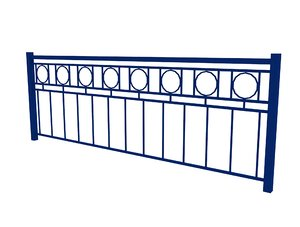 iron fence blue 3D model