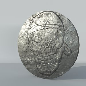 3D old silver coin