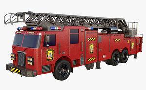 3D truck vehicle firetruck model