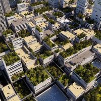 futuristic city cityscape 3D model