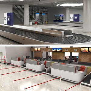 3D model airport baggage reclaim room