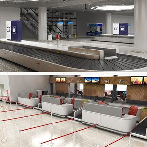 3D model airport baggage reclaim room