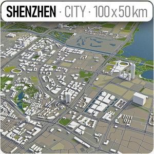 3D city shenzhen surrounding -