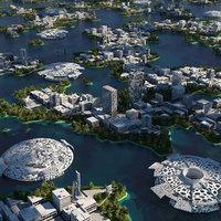 3D futuristic city cityscape