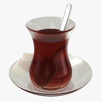 realistic turkish tea 3D model