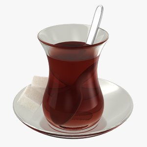 realistic turkish tea 3D model