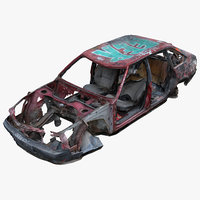 3D wrecked car 4