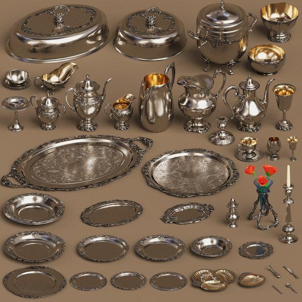 silver holloware set 44 model