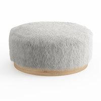 wool faux fur pouf 3D