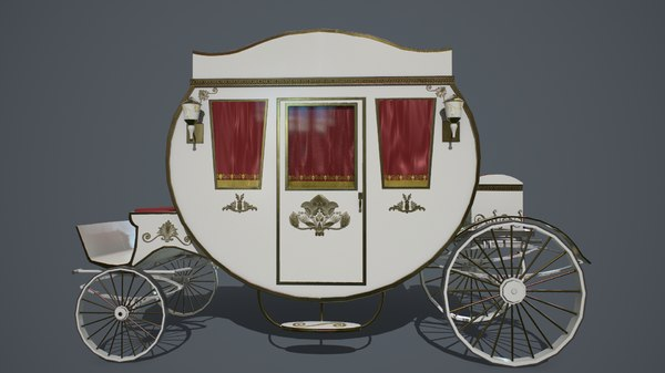 pbr antique carriage 3D model