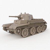Tank BT 7 Soviet Clay Vray
