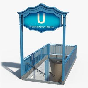 berlin metro entrance 3D model