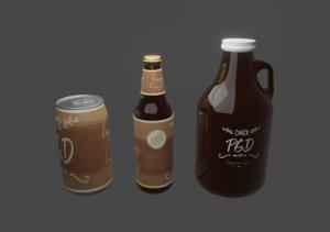 3D craft beer bottle