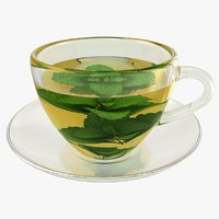 3D realistic mint tea