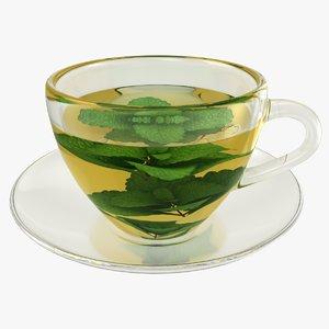 3D realistic mint tea