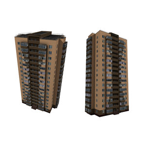 3D model brick house multi-storey