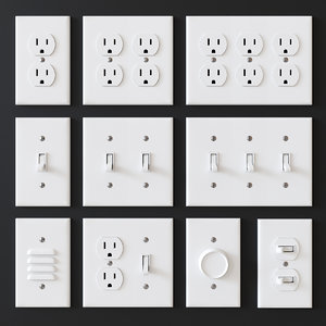 3D american electrical outlets switches
