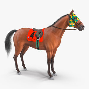 3D bay racing horse fur