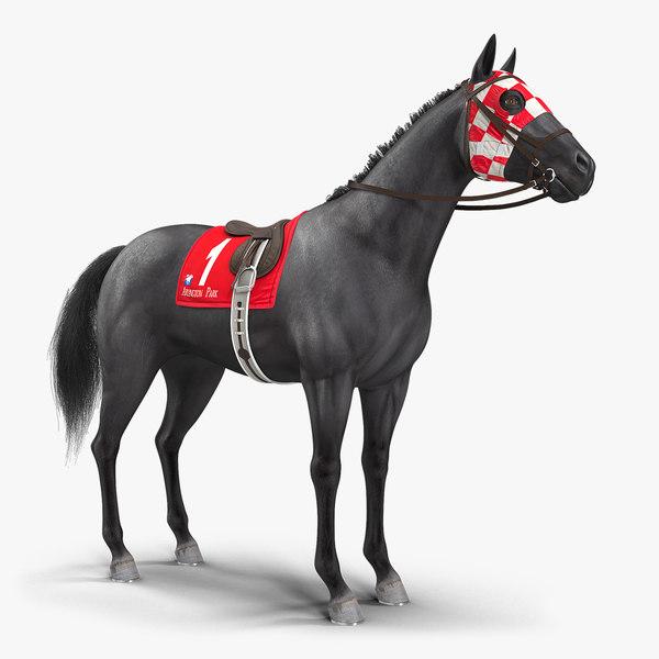 black racing horse animal 3D model