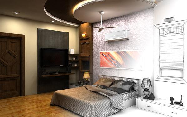 3D realistic bedroom interior