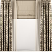 3D curtains tulle brown