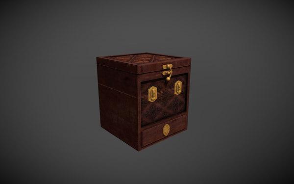 3D wood box puzzle model