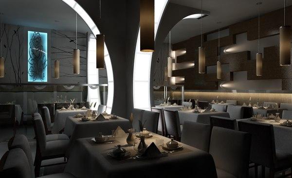 restaurant interior design 3D