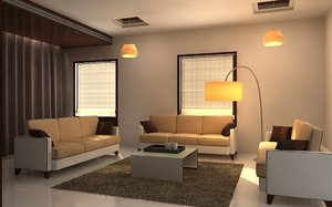 living dining interior 3D model