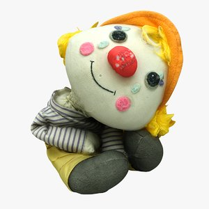 3D old toy clown mottidl model