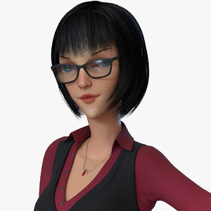 business woman cartoon 3D model