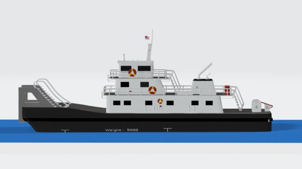 push boat ferry 3D model