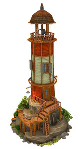 3D lighthouse low-poly model