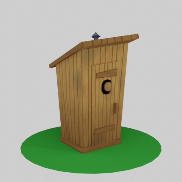 3D outhouse asset western