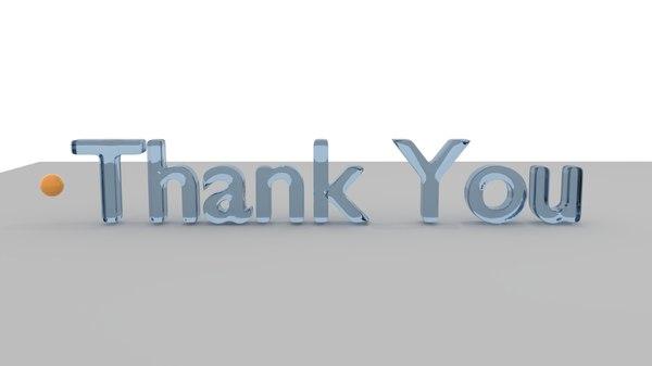 3D liquid thank text animation model