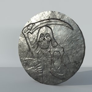old silver coin 3D model