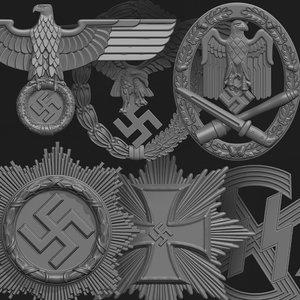 wwii german badges 3D model