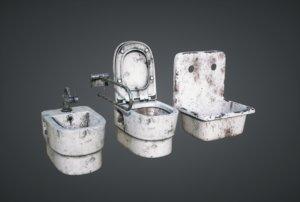3D abandoned toilet model