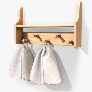 ready sauna shelf hats 3D