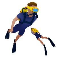 3D diver animation model