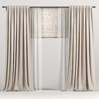 3D model curtains roman brown