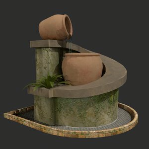 pbr water fountain model